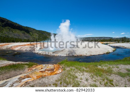 Eruption of a geyser in the black sand basin, yellowstone national park, wyoming - stock photo
