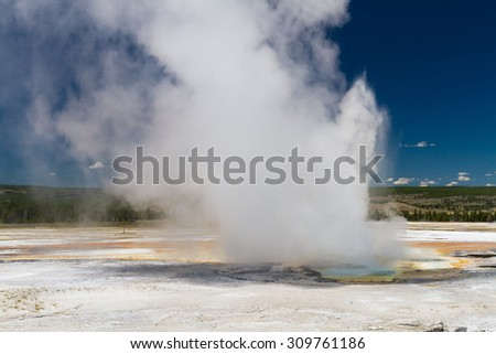 Eruption of Clepsydra Geyser, Yellowstone National Park, Wyoming, USA