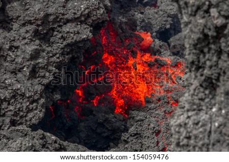 Eruption of Etna - 2013 - stock photo