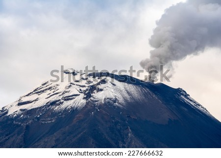 Eruption of Tungurahua volcano, Ecuador - stock photo