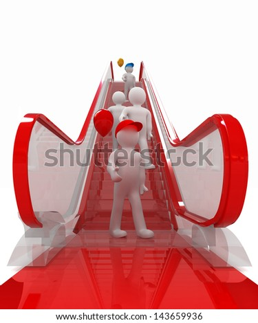Escalator and 3d mans with colorfull balloons - stock photo