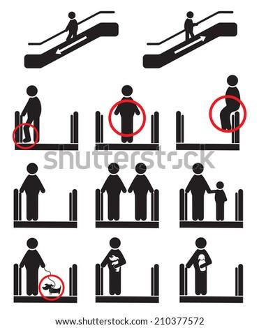 Escalator icons - stock photo