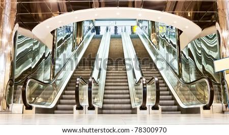 escalator in contemporary interior - stock photo