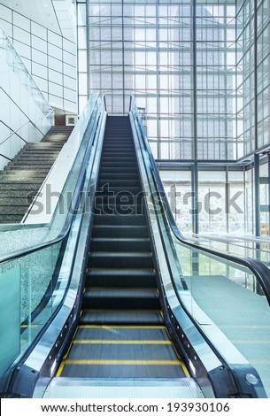 escalator in modern office center - stock photo