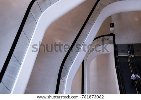 Escalator in shopping center