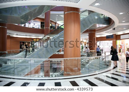 escalator in the trade center - stock photo