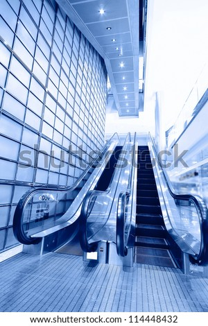 Escalator ,interior of the shanghai pudong airport .