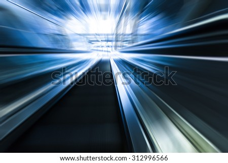 Escalator on subway station, modern stairs,futuristic background