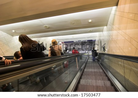escalator to subway station in new york city - stock photo