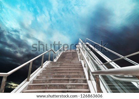 escalator to the sky, urban fantasy landscape,abstract expression - stock photo