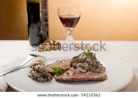 escalope with  mushroom on cream sauce