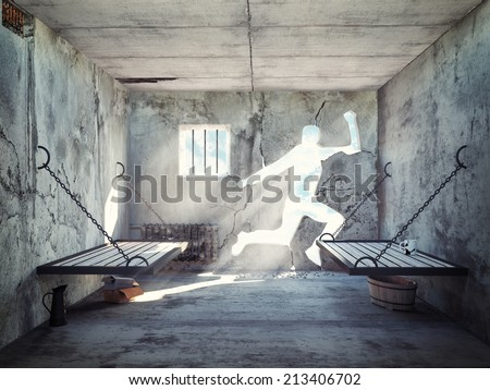 escape from a prison cell. 3d concept - stock photo