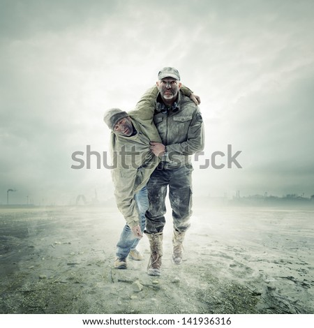 Escape from Nuclear War - stock photo