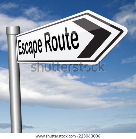 escape route avoiding stress and break free running away to safety no rat race  - stock photo