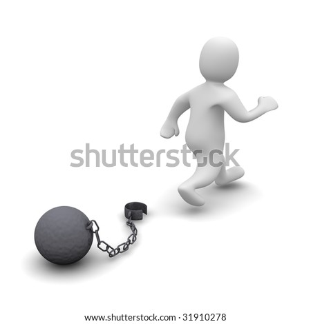 Escaping criminal. 3d rendered illustration isolated on white. - stock photo