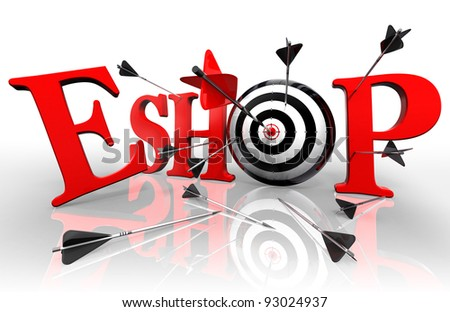 eshop red word and conceptual target with arrow on white background