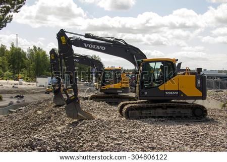 Eskilstuna, Sweden, June 25, 2015: Excavators Volvo ready for work, test-drive site at Volvo Days 2015, Eskilstuna - stock photo
