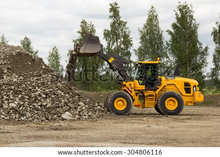 Eskilstuna, Sweden, June 25, 2015: Loader Volvo L120Gz with Z-bar work, Volvo Days 2015, Eskilstuna - stock photo
