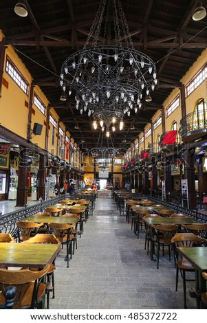 ESKISEHIR, TURKEY - SEPTEMBER 03, 2016: People have fun in Cafes and Restaurants in Haller Genclik Merkezi. Haller Genclik Merkezi was built as farmers market and converted to entertainment center.