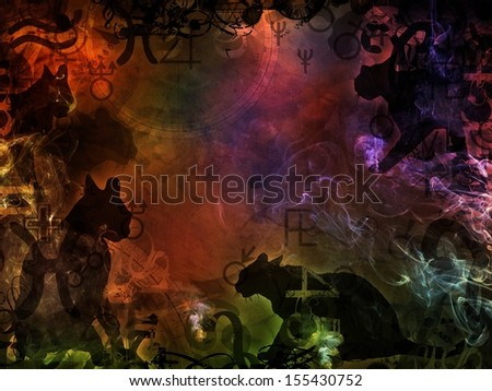 esoteric colorful magic background with black cats shape - stock photo