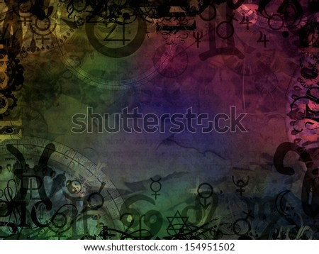 esoteric magic colorful astrological background - stock photo