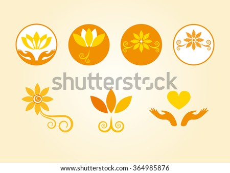 Esoterically decorated flowers. Orange flowers in the logo. Floral esoteric elements. Series orange flowers. Flower logo. Set of icons. Yellow icons. Decorative floral icons. Soothing flower icons - stock photo