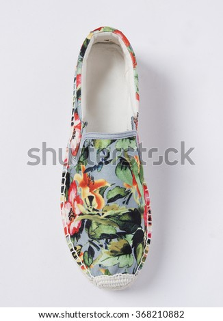 espadrilles floral shoe isolated in pan - stock photo