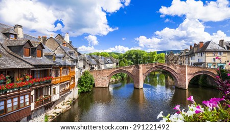 Espalion -one of the most beautiful villages of France - stock photo