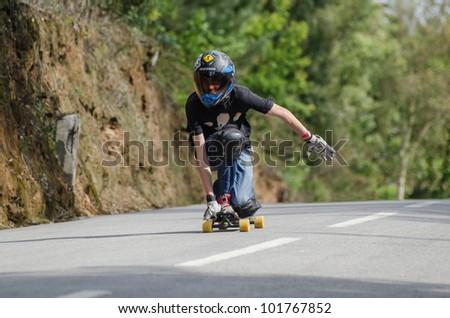 ESPINHO, PORTUGAL - MAY 5: Unidentified rider during the 1st GP de Desportos de Gravidade on May 5, 2012 in Espinho, Portugal. - stock photo