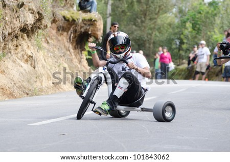 ESPINHO, PORTUGAL - MAY 6: Unidentified rider during the 1st GP de Desportos de Gravidade on May 6, 2012 in Espinho, Portugal. - stock photo