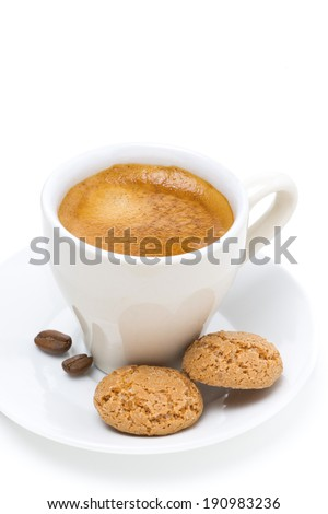 espresso and biscotti, isolated on white - stock photo