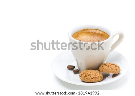espresso and biscotti, isolated on white background