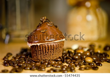 Espresso Chip Cupcake - stock photo