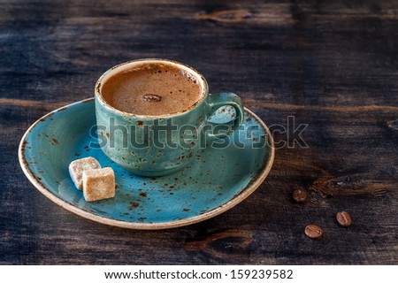 Espresso coffee  and a vintage coffee pot  - stock photo