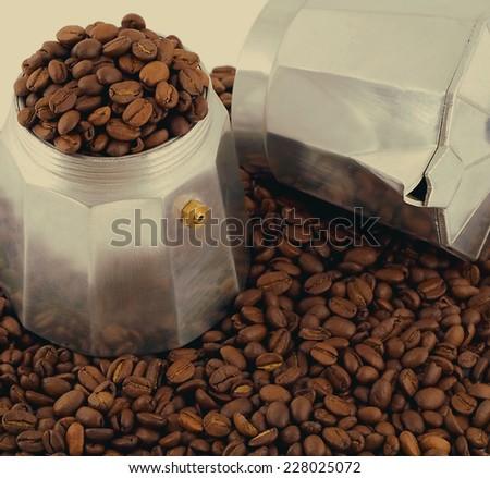 espresso coffee bean grunge coffee-maker - stock photo