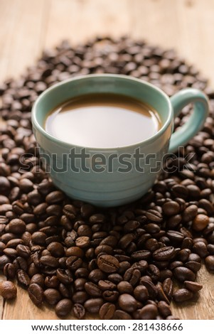 espresso coffee beans - stock photo