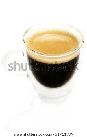 espresso coffee in a glass cup from slightly top on white background - stock photo