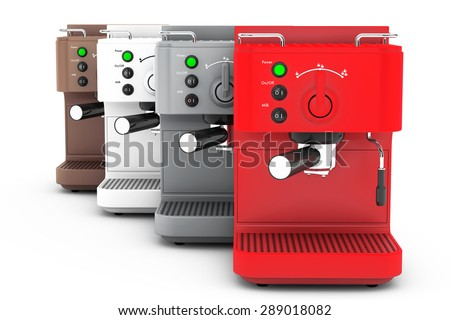 Espresso Coffee Making Machines on a white background. 3d rendering
