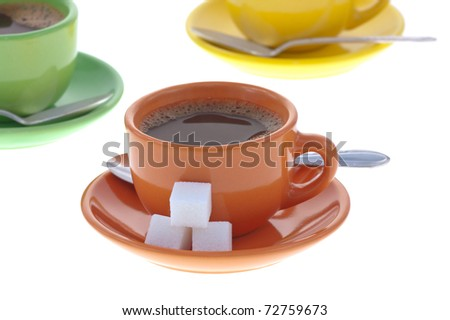 Espresso Coffee with Sugar Cubes Isolated on White. Shallow DOF. - stock photo