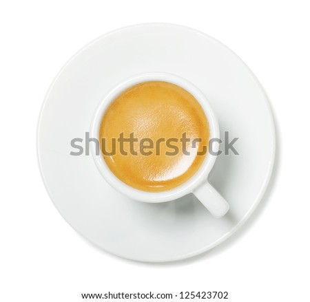 Espresso cup on white background with shadow - stock photo