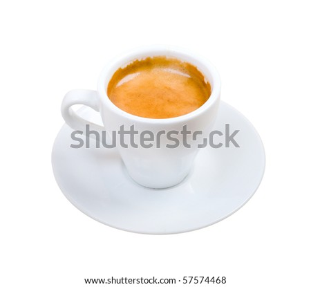 espresso Maccako   . Cup of coffee ..isolated on white background.clipping Path