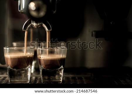 Espresso machine brewing a coffee - stock photo