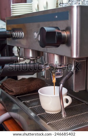 espresso, machine, coffee, cup, cafe, shop, drink, hot, bar, barista, brown, maker, cappuccino, heat, prepare, pouring, professiprepare, bari sta, bung, coffee house, coffee-shop, people, coffee shop - stock photo