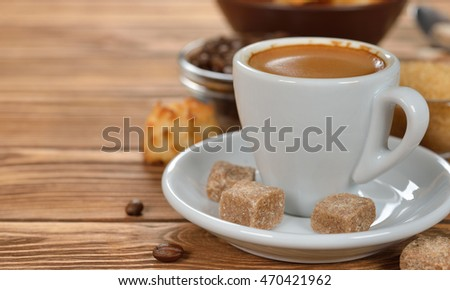Espresso on a brown background