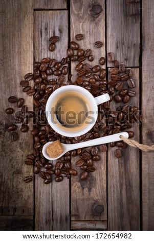 Espresso on wooden ground - stock photo
