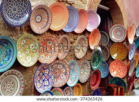 Essaouira, Morocco -  January 6, 2016: Traditional arabic handcrafted, colorful decorated plates shot at the market