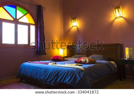 ESSAOUIRA, MOROCCO, SEP 3: Authentic Moroccan bedroom interior with traditional furnitures in guest house in Essaouira, Morocco - stock photo