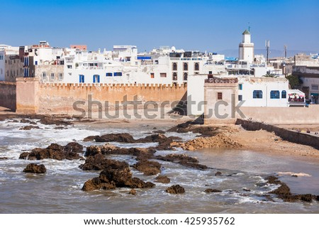 Essaouira Ramparts in Essaouira, Morocco. Essaouira is a city in the western Moroccan region on the Atlantic coast.
