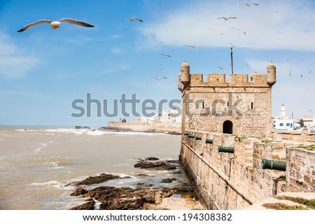 Essaouira: the Portuguese castle. Essaouira is a city in the western Morocco, on the Atlantic coast, Africa. - stock photo