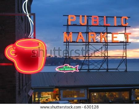 Essence of Seattle, Pike Place Market - stock photo